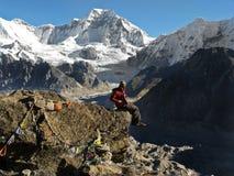 Hiker and mountains Stock Photos