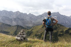Hiker in the mountains Stock Photos