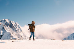 Hiker in mountains in winter Royalty Free Stock Photography