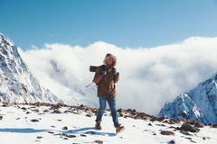 Hiker in mountains in winter Stock Photography