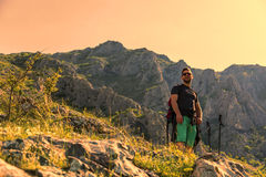 Hiker in Mountains Stock Images