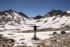 Hiker on Muir Pass, Kings Canyon National Park, California royalty free stock photos