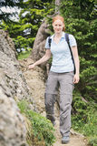 Hiker on a Narrow Mountain Trail stock photos