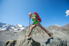 Hiker near Belukha Mountain, the highest in Siberia Stock Images