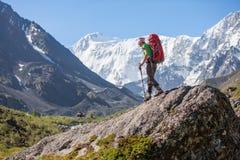 Hiker near Belukha Mountain, the highest in Siberia Stock Photography