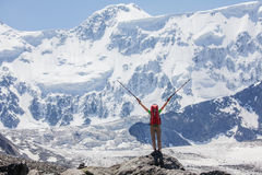 Hiker near Belukha Mountain, the highest in Siberia Stock Photography
