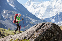 Hiker near Belukha Mountain, the highest in Siberia Royalty Free Stock Images