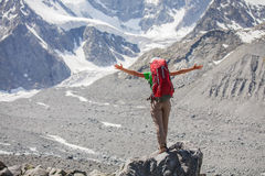 Hiker near Belukha Mountain, the highest in Siberia Royalty Free Stock Photo