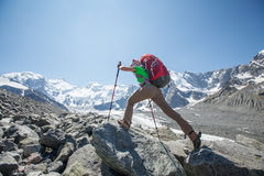 Hiker near Belukha Mountain, the highest in Siberia Stock Photos
