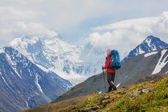 Hiker near Belukha Mountain, the highest in Siberia Stock Photo