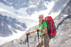 Hiker near Belukha Mountain, the highest in Siberia Royalty Free Stock Photography