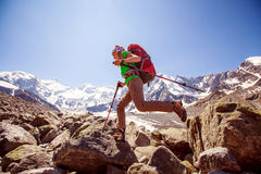 Hiker near Belukha Mountain Royalty Free Stock Photo