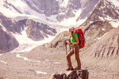 Hiker near Belukha Mountain Royalty Free Stock Images