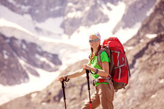 Hiker near Belukha Mountain Stock Images