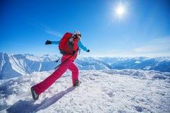 Hiker near Belukha Mountain, the highest in Siberia Stock Photos
