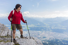 Hiker at Norkette mountain, Innsbruck, Austria. Royalty Free Stock Image