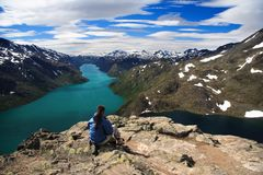Hiker in norway Royalty Free Stock Images