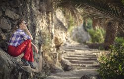 Hiker in an old omani garden stock image