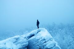 Free Hiker On Edge Of Cliff And Panorama Of Snow-covered Forest Royalty Free Stock Photography - 177129017