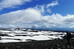 Free Hiker On Fimmvörduhals Mountain Pass Looking On A Beautiful Snow And Rock Landscape, Iceland Royalty Free Stock Images - 141130299