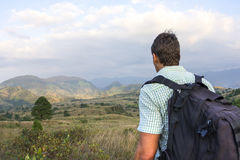 Hiker overlooking hilly landscape in Chiapas, Mexico Stock Photos