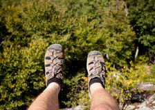 Hiker overlooking Shenandoah valley Stock Photography