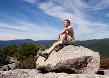 Hiker overlooking Shenandoah valley Royalty Free Stock Photo