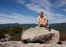 Hiker overlooking Shenandoah valley Stock Photos