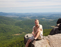 Hiker overlooking Shenandoah valley Stock Photo