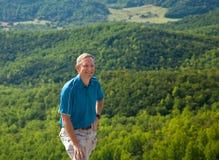 Hiker overlooking Shenandoah valley Royalty Free Stock Image