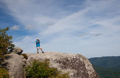 Hiker overlooking Shenandoah valley Royalty Free Stock Photos