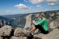 Hiker Overlooking Yosemite Valley II. Posed composition from the top of Sentinel Dome, Yosemite NP Stock Photos