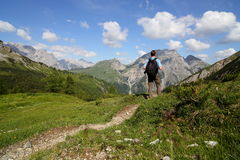 Hiker on path Royalty Free Stock Photo