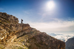 Hiker Photographers in Italy hilltop Royalty Free Stock Images