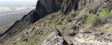 A Hiker in Picacho Peak State Park, Arizona Stock Photography