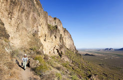 A Hiker in Picacho Peak State Park, Arizona Royalty Free Stock Photos