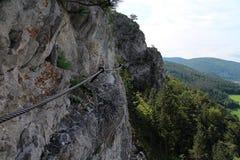 Hiker on Pittentaler Klettersteig Stock Photography