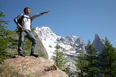 Hiker pointing Stock Photography