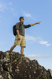 Hiker Pointing Royalty Free Stock Photography