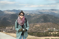 Hiker portrait. Female hiking woman happy and smiling with her c Royalty Free Stock Images