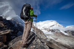 Hiker posing at camera on the trek in Himalayas, Nepal.  Royalty Free Stock Image
