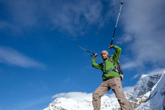 Hiker posing at camera on the trek in Himalayas, Nepal Stock Image