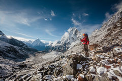 Hiker posing in Himalayas Royalty Free Stock Images