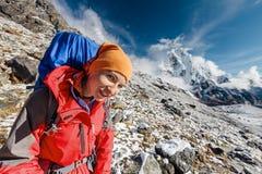 Hiker posing in Himalayas Royalty Free Stock Image