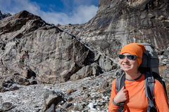 Hiker posing in Himalayas Stock Image