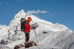 Hiker posing in Himalayas Stock Photography