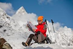 Hiker posing in Himalayas Royalty Free Stock Photos