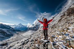 Hiker posing in Himalayas Royalty Free Stock Photo