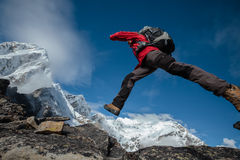 Hiker posing in Himalayas Stock Photos