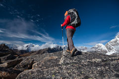 Hiker posing in Himalayas Royalty Free Stock Photography